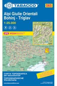 Zemljevid 065 Alpi Giulie Orientali Julijske Alpe-Bohinj-Triglav - Tabacco