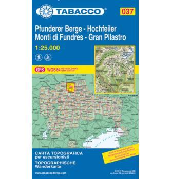 Zemljevid 037  Hochfeiler , Pfunderer Berge, Tabacco