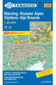 Zemljevid 038 Vipiteno, Alpi Breonie, Sterzing, Stubaier Alpen- Tabacco