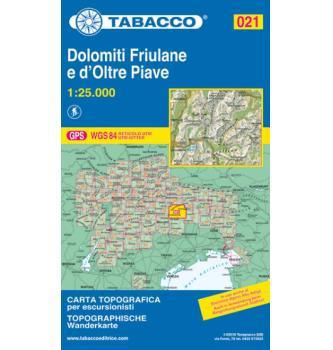 Zemljevid Tabacco 021 Dolomiti Friulane e D'oltre Piave