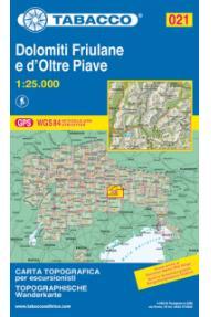 Zemljovid Tabacco 021 Dolomiti Friulane e D'oltre Piave