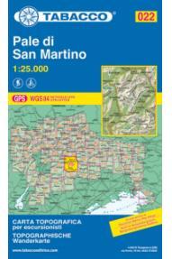 Zemljevid 022 Pale di San Martino- Tabacco