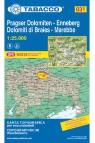 Zemljevid 031 Dolomiti di Braies / Pragser, Dolomiten, Marebbe / Enneberg- Tabacco