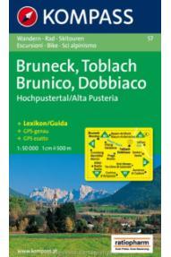 Kompass Wanderkarte Bruneck, Toblach- Brunico, Dobbiaco 57 – 1:50.000