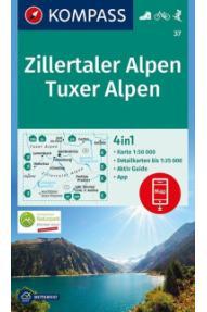 Zemljevid Kompass Zillertaler Alpen, Tuxer Alpen 37