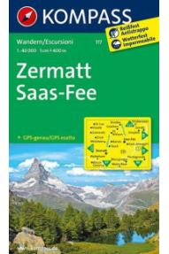 Zemljovid Kompass Zermatt- Saas Fee 117- 1:40.000