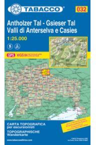 Zemljevid Tabacco 032 Antholzer Tal-Gsieser Tal Valli di Anterselva e Casies