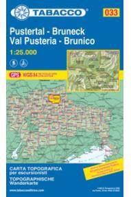 Zemljevid Tabacco 033 Pustertal-Bruneck Val Pusteria-Brunico