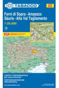 Karte Tabacco 02 Forni di Sopra, Ampezzo, Sàuris, Alta Val Tagliamento