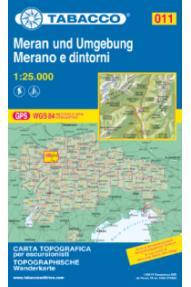 Zemljevid Tabacco 011 Merano e dintorni / Meran und Umgebung