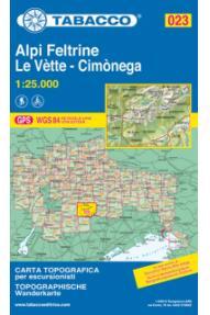 Mappa Tabacco 023 Alpi Feltrine, le Vette, Cimonega