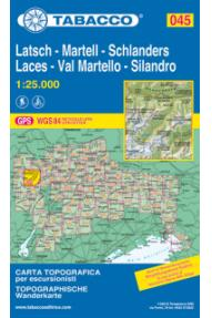 Zemljevid Tabacco 045  Laces / Latsch, Val Martello / Martell, Silandro / Schlanders