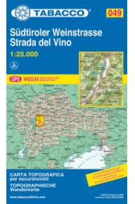 Landkarte Tabacco 049 Südtiroler Weinstrasse / Strada del Vino