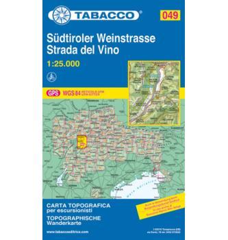 Zemljevid Tabacco 049 Südtiroler Weinstrasse / Strada del Vino