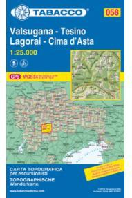 Zemljevid Tabacco 058 Valsugana - Tesino Lagorai - Cima d'Asta