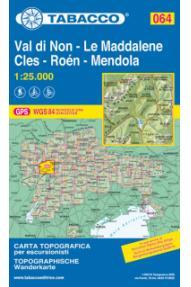 Zemljevid Tabacco 064 Val di Non - Le Maddalene / Cles - Roen - Mendola