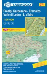 Landkarte Tabacco 071 Prealpi gardesane - Tremalzo, Valle di Ledro - L. d'Idro