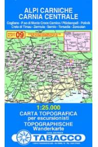 Zemljevid 09 Alpi Carniche, Carnia centrale - Tabacco