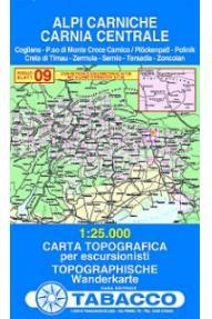 Zemljovid 09 Alpi Carniche, Carnia centrale - Tabacco