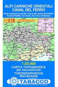 Zemljevid 018 Alpi Carniche Orientali, Canal del Ferro - Tabacco