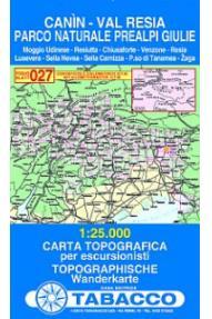 Zemljevid 027 Canin, Val Resia, Parco Naturale Prealpi Giulie -