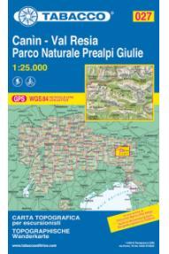 Wanderkarte 027 Canin, Val Resia, Parco Naturale Prealpi Giulie - Tabacco