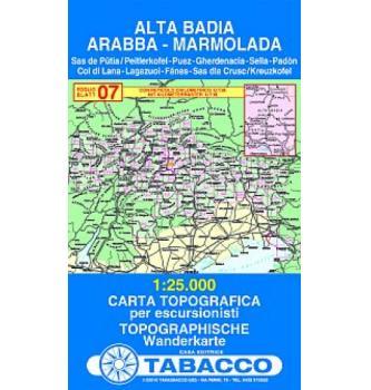 Zemljevid Alta Badia, Arabba, Marmolada - Tabacco