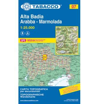 Zemljevid Tabacco 07 Alta Badia, Arabba, Marmolada - Tabacco
