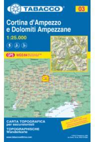 Zemljovid Cortina d'Ampezzo e Dolomiti ampezzane - Tabacco