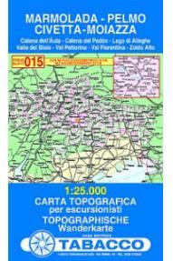 Zemljevid Marmolada, Pelmo, Civetta, Moiazza