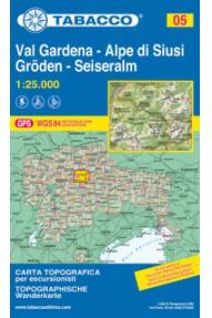 Wanderkarte 05 Val Gardena, Gröden, Alpe di Siusi, Seiseralm - Tabacco
