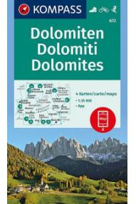 Zemljovid Kompass Dolomiti 672- 1:35.000