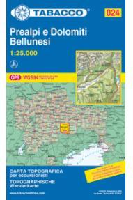 Zemljevid Tabacco 024 Prealpi e Dolomiti Bellunesi