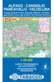 Zemljevid Tabacco 012 Alpago-Cansiglio Piancavallo-Valcellina