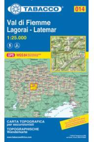 Zemljevid Tabacco 014 Val di Fiemme Lagorai-Latemar