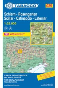 Zemljevid Tabacco 029 Schlern-Rosengarten Sciliar-Catinaccio-Latemar