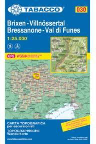 Zemljevid Tabacco 030 Brixen-Villnössertal Bressanone-Val di Funes