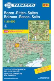 Zemljevid Tabacco 034 Bozen-Ritten-Salten Bolzano-Renon-Salto