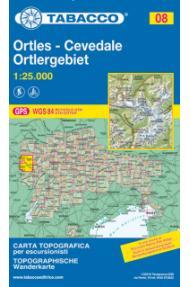 Zemljevid Tabacco 08 Ortles, Cevedale / Ortlergebiet