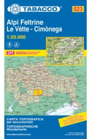 Zemljevid Tabacco 023 Alpi Feltrine, le Vette, Cimonega