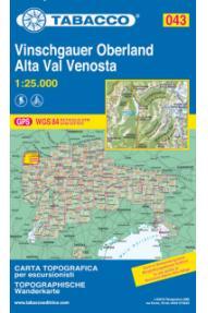Zemljevid Tabacco 043 Alta Val Venosta / Vinschgauer Oberland