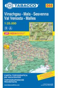 Zemljevid Tabacco 044 Val Venosta / Vinschgau, Sesvenna