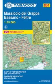 Zemljevid Tabacco 051 Monte Grappa, Bassano - Feltre
