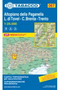 Zemljevid Tabacco 067 Altopiano della Paganella - L. di Tovel - C. Brenta - Trento
