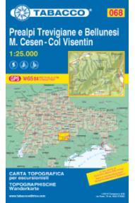 Zemljevid Tabacco 068 Prealpi Trevigiane e Bellunesi - M. Cesen - Col Visentin