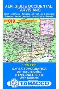 Zemljevid 019 Alpi Giulie Occidentali, Tarvisiano - Tabacco