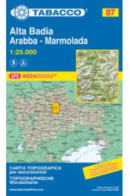 Zemljovid 07 Alta Badia, Arabba, Marmolada - Tabacco