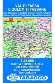 Zemljevid 06 Val di Fassa e Dolomiti Fassane - Tabacco